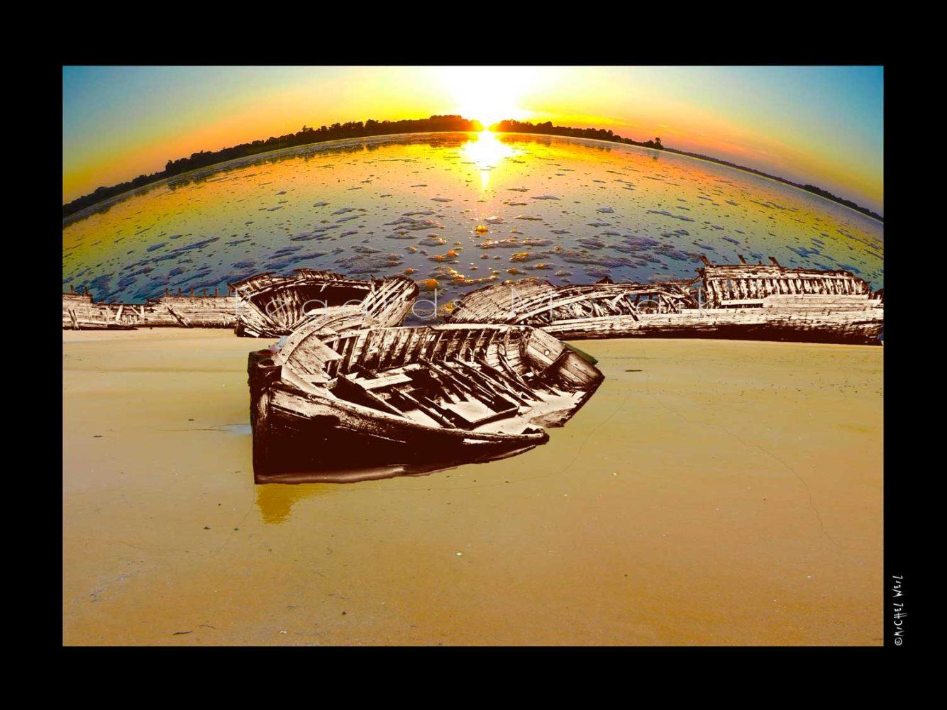 Wrecks on sunset time